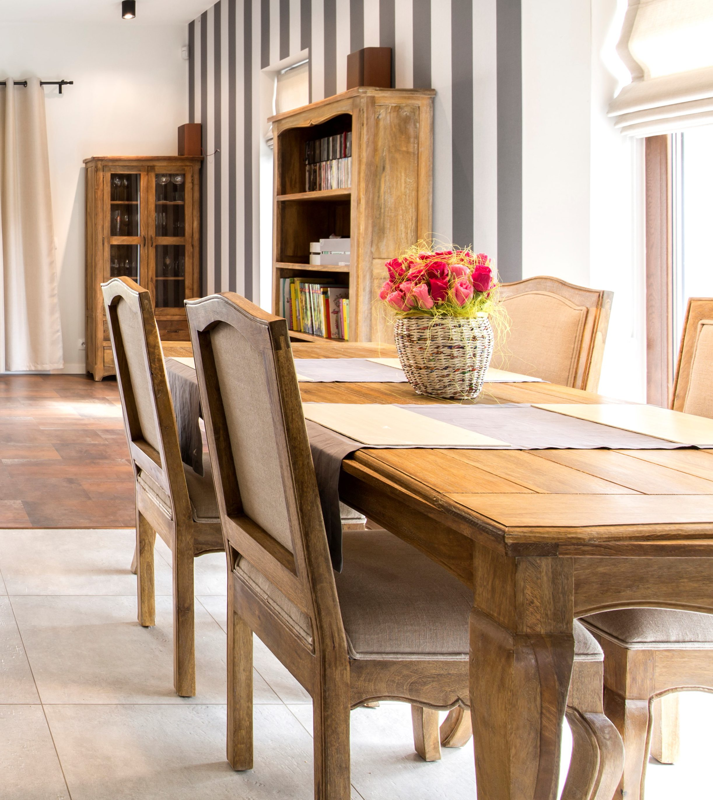 Elegant House Interior With Spacious Dining Hall And Wooden Vintage  Furnitures